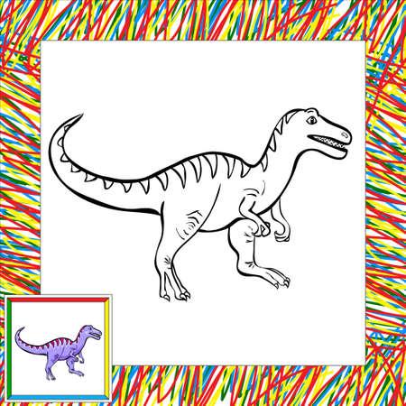 dinosaurus: Funny cartoon tyrannosaur. Coloring book for children Stock Photo