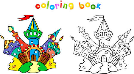 for children: Funny colorful castle. Coloring book for children Stock Photo