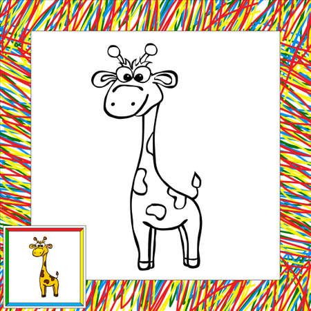 Libro Para Colorear Dibujos Animados Jirafa Divertida. Ilustración ...