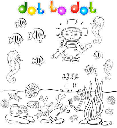 skin diving: Underwater world with diver dot to dot. Illustration