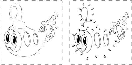 directing: Coloring book. Funny submarine drawing with dots and digits