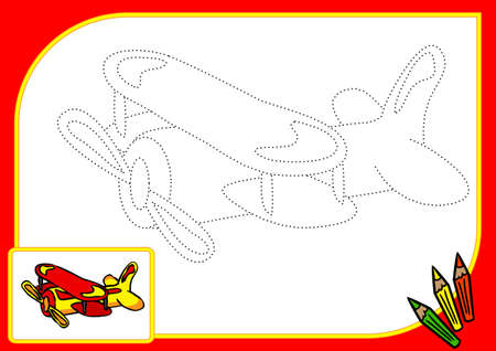 conveyances: Coloring book with dots. Illustration of funny airplane Stock Photo