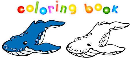 killer: Funny cartoon whale killer coloring book. Illustration for child