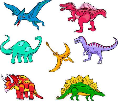 어린이를위한 재미있는 만화 공룡 세트