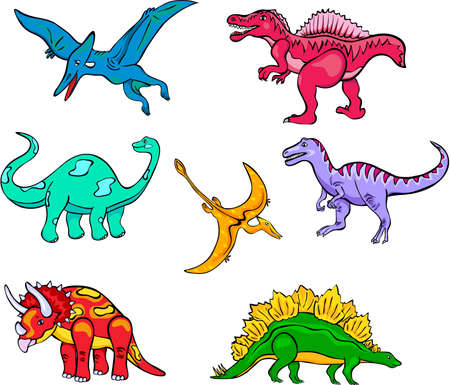 terrific: Set of funny cartoon dinosaurs for children Stock Photo