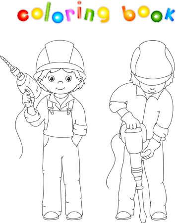 presslufthammer: M�nner mit Bohrger�t und Presslufthammer. Malbuch. Illustration