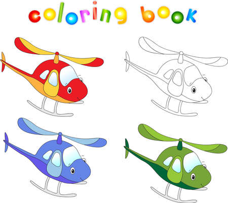 cruise cartoon: Funny cartoon helicopter. Coloring book for children.