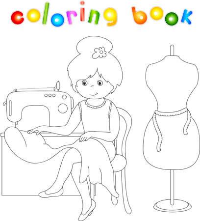 costurera: Bastante costurera linda est� sentado en la m�quina de coser. Maniqu� de pie junto a la chica. Libro para colorear para los ni�os sobre las profesiones. Vectores