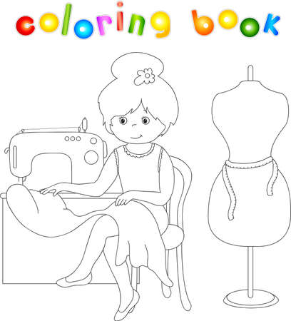 seamstress: Pretty cute seamstress is sitting at the sewing machine. Mannequin standing beside the girl. Coloring book for children about professions.