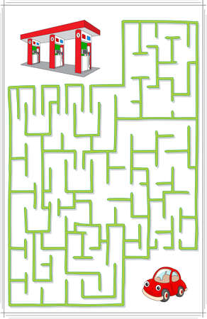 Help the car go through a maze and find petrol station. Educational game for children.
