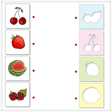 fascinated: Watermelon, raspberries, cherries and strawberries. Educational game for kids. Choose the correct silhouettes on the opposite side and connect the points