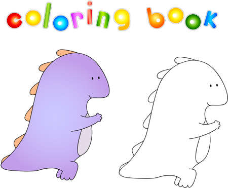 squats: Crummy bellied dragon doing exercises of squats. Coloring book about healthy lifestyle for children.