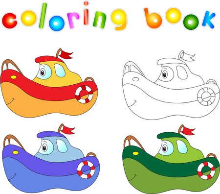 Nave divertente cartone animato. Libro da colorare per i bambini. Archivio Fotografico - 43246619