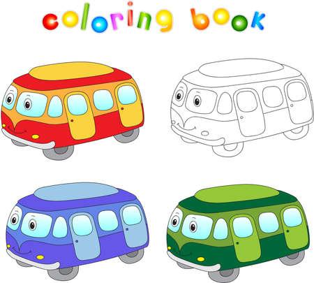 cartoon bus: Funny cartoon bus. Coloring book for children. Illustration