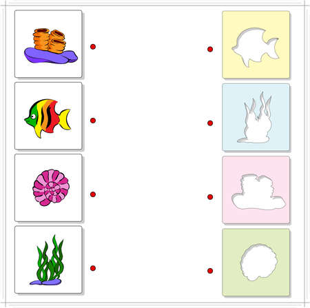 ocean floor: Coral, fish, seaweed, shell. Educational game for kids about sea and ocean floor. Choose the correct silhouettes on the opposite side and connect the points