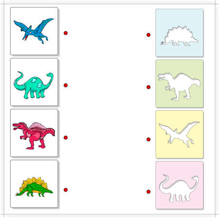 raptorial: Pterodactyl, Diplodocus, Tyrannosaurus and Stegosaurus. Educational game for kids. Choose the correct silhouettes on the opposite side and connect the points
