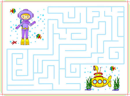 Help the diver go through a maze and find yellow submarine in the ocean. Educational game for children.   イラスト・ベクター素材