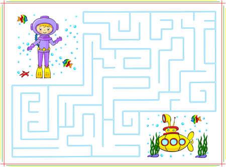 Help de duiker gaan door een doolhof en vind de gele onderzeeër in de oceaan. Educatief spel voor kinderen. Stock Illustratie