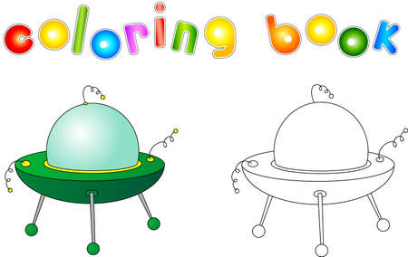 light beam: UFO with light beam. Flying saucer. Coloring book for children about space.