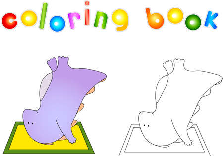 upside down: Crummy bellied dragon doing exercises upside down on the mat. Coloring book about healthy lifestyle for children.