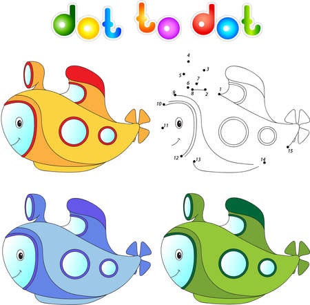 cartoon submarine: Funny cartoon submarine. Connect dots and get image. Educational game for kids. Vector illustration