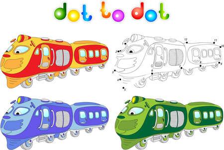 tren caricatura: Tren divertido de dibujos animados. Conectar los puntos y obtener la imagen. Juego educativo para los niños. Ilustración vectorial