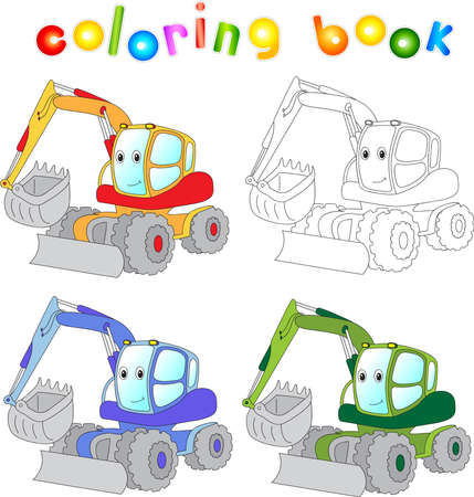 excavator: Funny cartoon excavator. Coloring book for children. Vector illustration