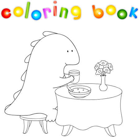 eats: Crummy bellied dragon eats his breakfast: porridge and juice. Coloring book about healthy lifestyle for children. Vector illustration for kids