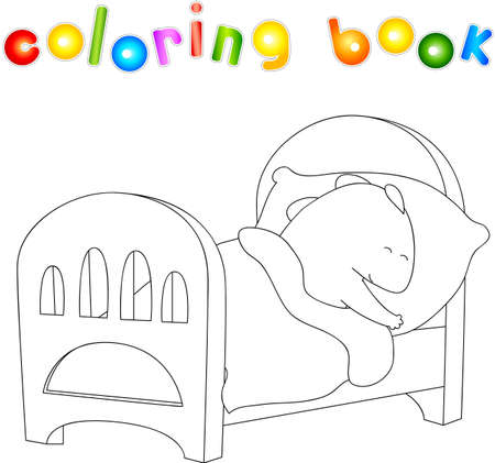 stuff toys: Crummy bellied dragon is sleeping in his crib. Coloring book about healthy lifestyle for children. Vector illustration for kids Illustration