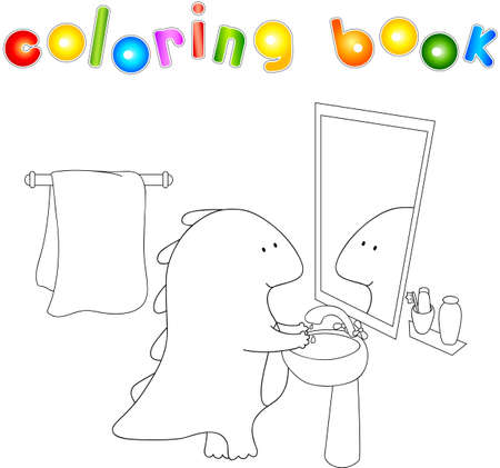 wash hand stand: Crummy bellied dragon is washing his hands. Coloring book about healthy lifestyle for children. Vector illustration for kids
