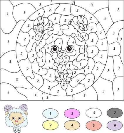色番号教育ゲーム子供のための。かわいいラム (ram、羊、羊)。幼児・小学生のためのベクトル図 写真素材 - 44081061