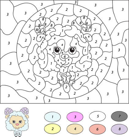 Color by number educational game for kids. Cute lamb (ram, sheep, mutton). Vector illustration for schoolchild and preschool