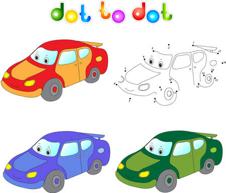cars race: Funny cartoon car. Connect dots and get image. Educational game for kids. Vector illustration Illustration