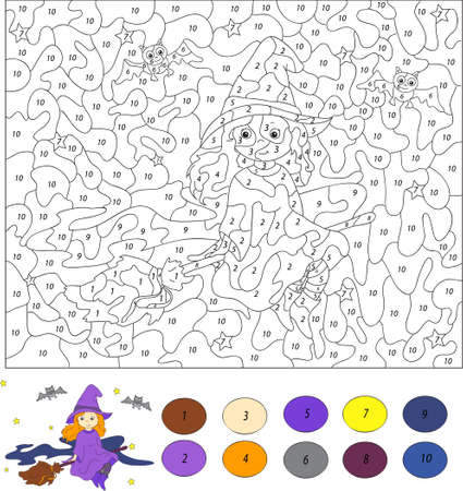 Color by number educational game for kids. Nice and friendly witch flying on a broom through the night sky. Vector illustration for schoolchild and preschool