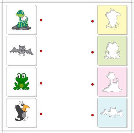 cuervo: Serpiente, cuervo, rana y el murci�lago. Juego educativo para los ni�os. Elija las siluetas correctas en el lado opuesto y conectar los puntos Vectores