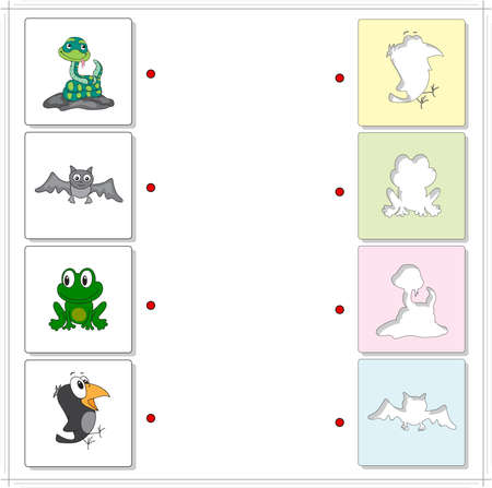 raptorial: Snake, crow, frog and bat. Educational game for kids. Choose the correct silhouettes on the opposite side and connect the points