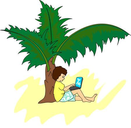 freiberufler: Ein junger Mann mit einem Laptop auf einer tropischen Insel sitzt unter einer Palme. Freelancer, die entfernt an Urlaub