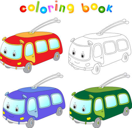 motor coach: Funny cartoon trolleybus. Coloring book for kids. Vector illustration Illustration