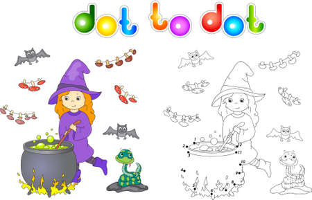 boils: Pretty friendly witch brews a potion. Magic potion boils in a cauldron. Connect dots and get image. Educational game for kids. Vector illustration