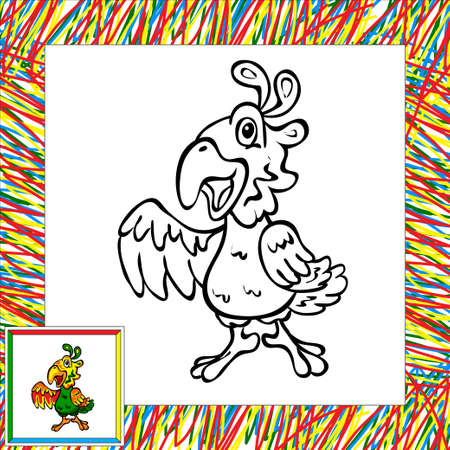 popinjay: Funny cartoon parrot coloring book. Vector illustration for child