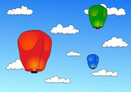 sky lantern: Pingsi Lanterne dans le ciel bleu avec des nuages. Vector illustration Illustration