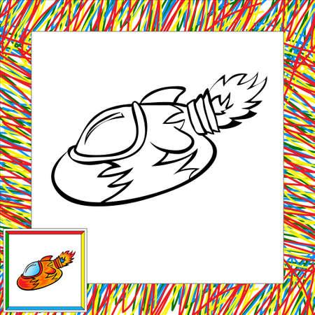 second: Cartoon vector rocket (second). Coloring book