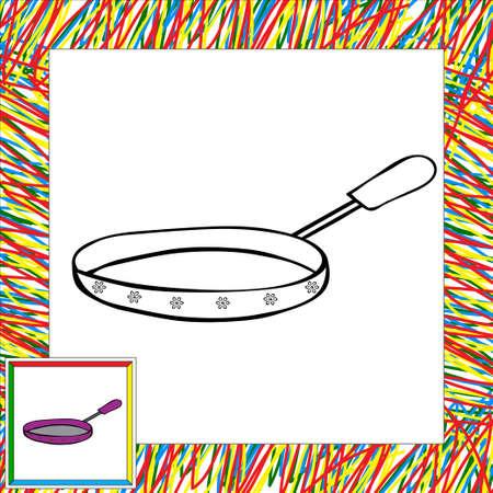 fryer: Fryer with handle coloring book. Vector illustration for children