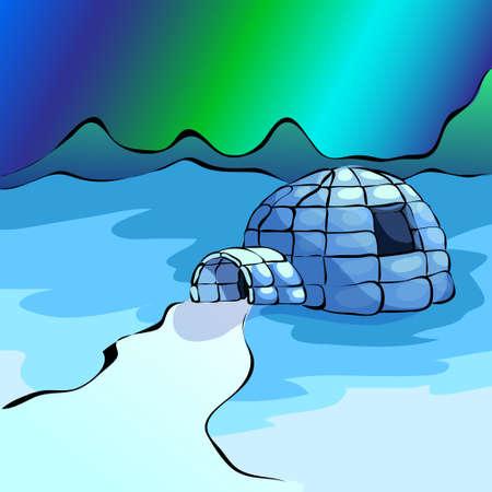 igloo: Ice yurt igloo and nothern lights. Vector illustration