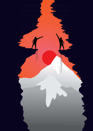 abyss: Two people stand on the abyss in the mountains Illustration