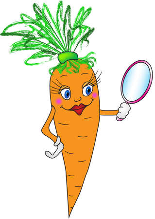 greengrocery: Cartoon carrot with mirror. Vector illustration (EPS 8)