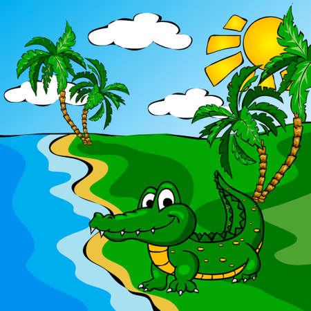 river vector: Funny cartoon crocodile near a river. Vector illustration for children Illustration