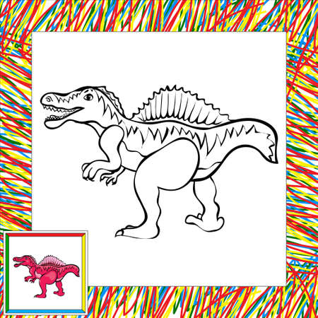 Funny cartoon spinosaurus. Coloring book for children