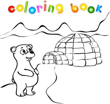 polar bear on ice: Polar bear, ice yurt igloo coloring book. Vector illustration
