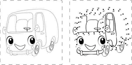 educative: Coloring book. Funny bus drawing with dots and digits
